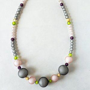 Murano Beaded Necklace Pink Gray Tommasi Handmade